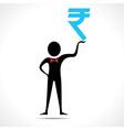 Man holding rupee symbol vector image vector image