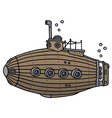 Old wooden submarine vector image