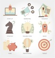 Entrepreneurship flat design icon set vector image