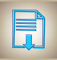 file download sign sky blue icon with vector image