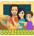 happy family lighting Hanukkah menorah vector image