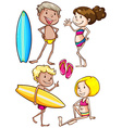 Sketches of the kids enjoying at the beach vector image