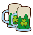 two green beer glass clover drink alcohol vector image