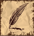 Writing quill on vintage background vector image vector image
