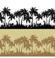 Palms and flowers silhouettes seamless vector image