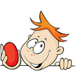 boy holding red egg in hand peeking out - vector image