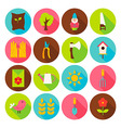 Gardening Tools Circle Icons Set with long Shadow vector image