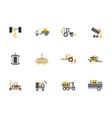 Flat color design farming machines icons vector image