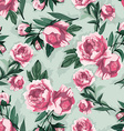 seamless floral pattern with pink roses watercolor vector image