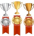 Set TrophiesAwardsRibbons vector image