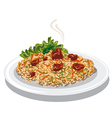 hot pilaf with rice vector image