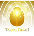 happy easter gold egg with candle emits light rays vector image
