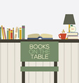 Flat Design Books On Table vector image