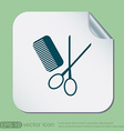 comb scissors barbershop symbol of hair and beauty vector image