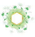 golden frame with white center and green plants vector image vector image