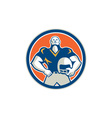 American Football With Helmet Circle Retro vector image