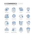 Blue Line E-Commerce Icons vector image