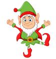 Cartoon Christmas Elf waving vector image