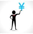 Man holding yen symbol vector image