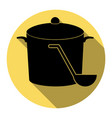 pan with steam sign flat black icon with vector image