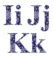 Uppercase and lowercase letters I J and K vector image