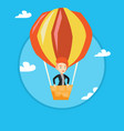 young woman flying in hot air balloon vector image vector image