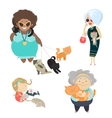 Funny cats with their owners vector image