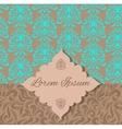 Brown blue damask pattern invitation vector image