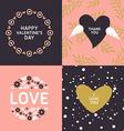 Set of Decorative Floral Frames Happy Valentines vector image