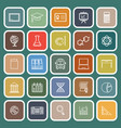 education line flat icons on green background vector image