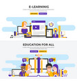 flat design concept banners -e learning and vector image