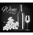glass bottle wine grapes on chalkboard vector image