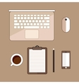 Office stuff with laptop cup of cofee and vector image