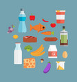 online supermarket foods flat concept of grocery vector image
