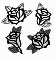 set of black and white images of roses vector image