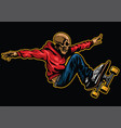 skull riding skateboard vector image