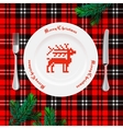 Table setting for Christmas dinner vector image