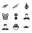 Military weapons icons set simple style vector image