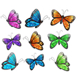 Nine colorful butterflies vector image vector image