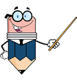 Business Pencil Character Holding A Pointer vector image