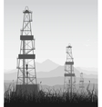 Landscape whith oil rigs over mountain range vector image