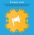 Megaphone soon icon Loudspeaker symbol Floral flat vector image