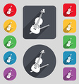 Violin icon sign A set of 12 colored buttons and a vector image