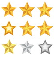 gold star set vector image vector image