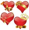 glass hearts vector image vector image