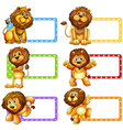 Label design with cute lions vector image