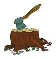 cartoon image of tree stump and axe vector image