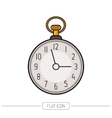 Flat colored icon pocket watch isolated on white vector image