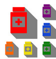 medical container sign set of red orange yellow vector image
