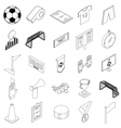 Soccer icons set isometric 3d style vector image